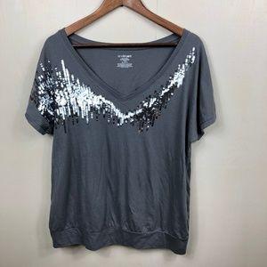 Lane Bryant Sequin Knit Top V-Neck Size 14/16